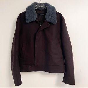 Gucci Men's Brown Shearling Lamb Collared Jacket